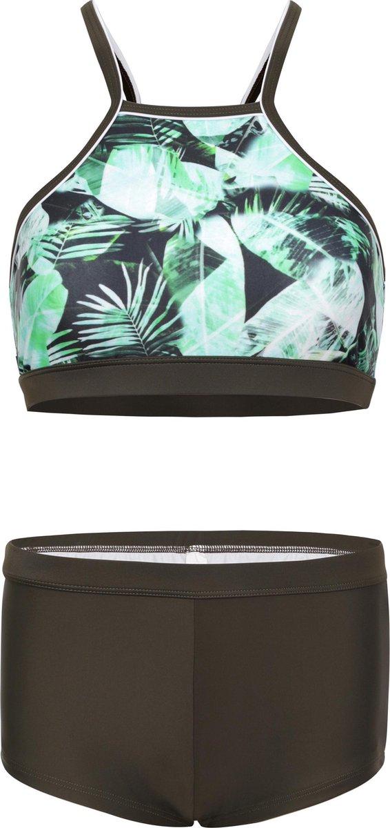 Bikini hipster broekje en crop top met racerback - Palm leaf 170-176
