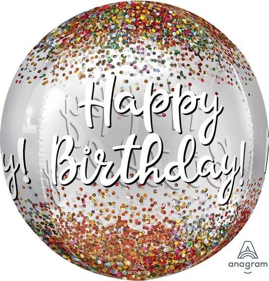 Amscan Folieballon Happy Birthday Sequins Orbz 38 X 40 Cm