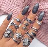 11 delige ringen set veren bohemian