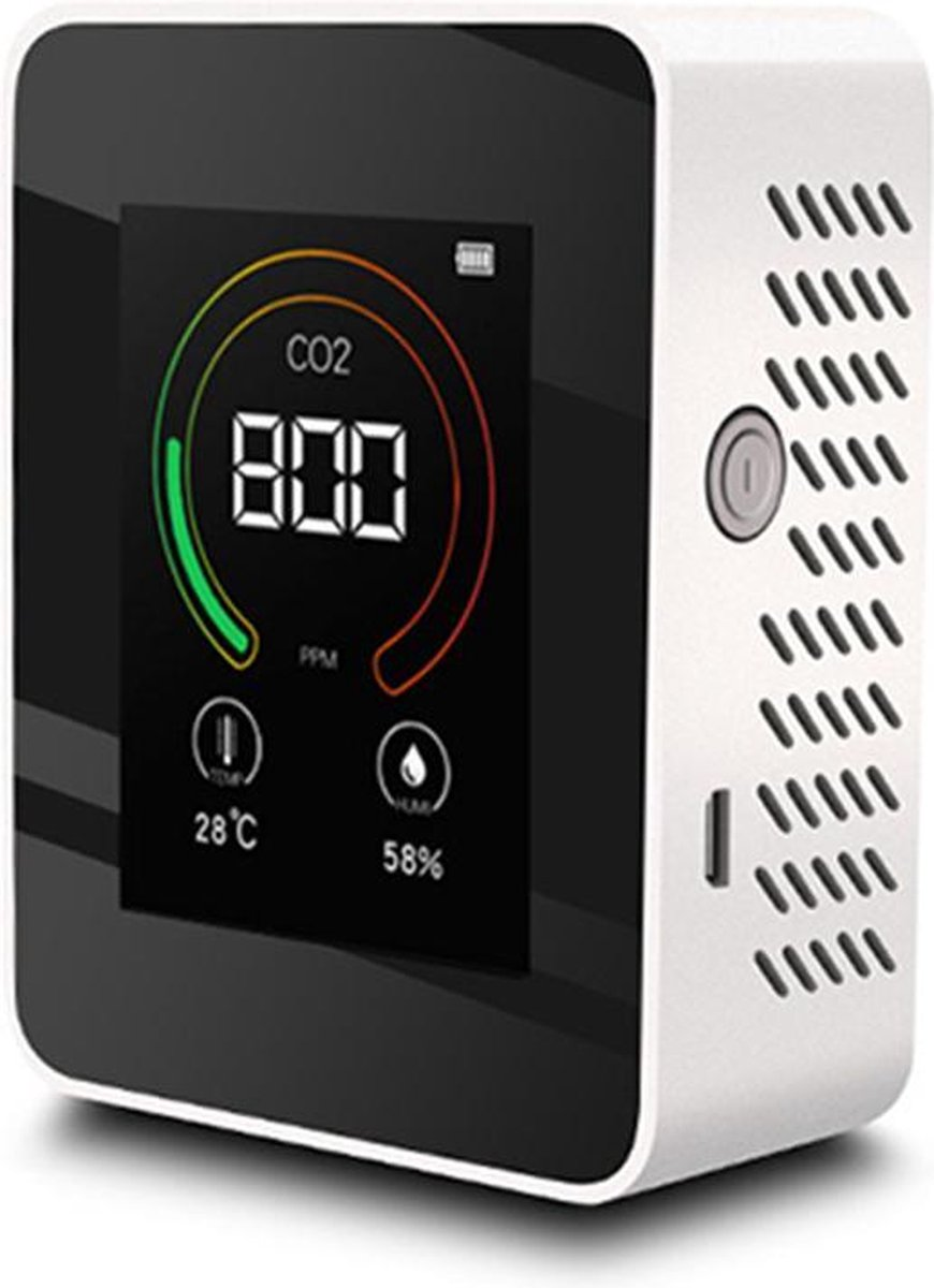 OHOME  CO2 meter - Luchtkwaliteitsmeter - CO2 meter binnen - CO2 melder & monitor - Thermometer - CO