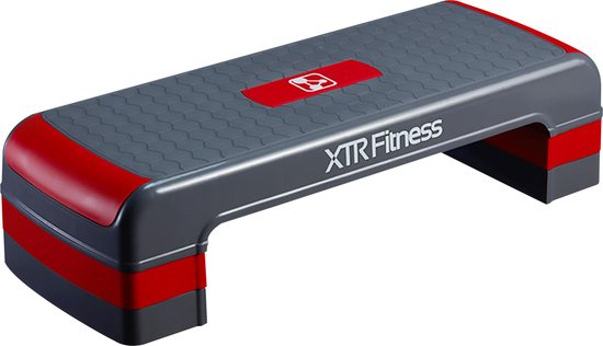 XTR Fitness Stepper | Aerobic step | Stepbank | Verstelbaar | Antislip | 200KG | 80CM | Rood & Grijs