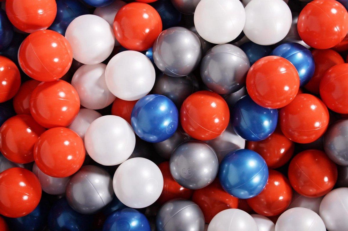 Ronde Ballenbak set incl 300 ballen 90x40cm - Zwart: Parel Blauw, Parel Wit, Oranje, Zilver