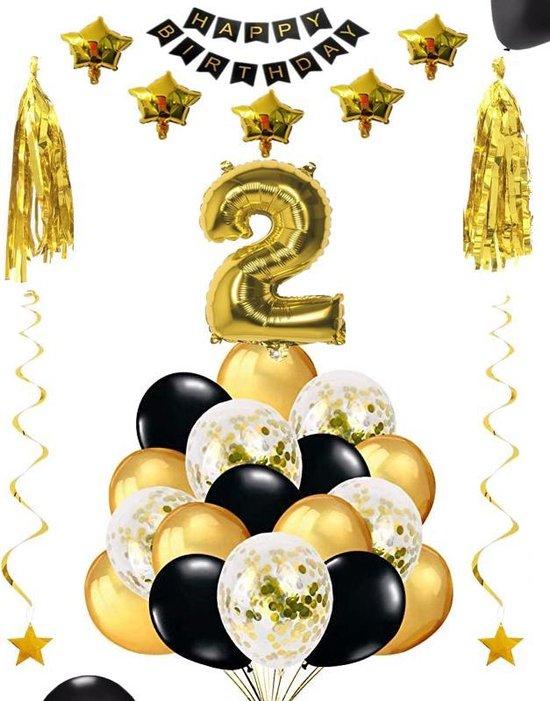 2 jaar verjaardag feest pakket Versiering Ballonnen voor feest 2 jaar. Ballonnen slingers sterren opblaasbaar cijfer 2.