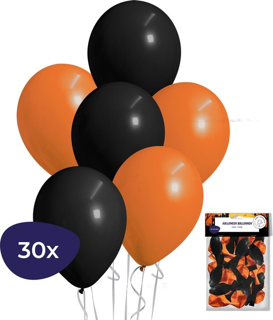 Halloween Decoratie – Helium Ballonnen – Halloween Versiering – Zwarte Ballonnen – Oranje Ballonnen – 30 stuks