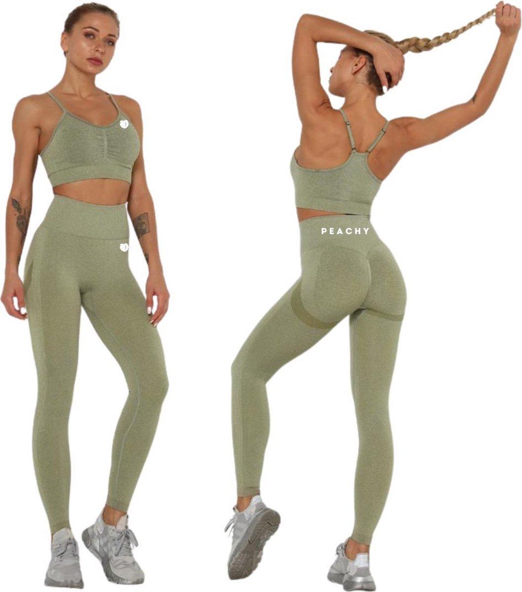 Peachy  Sportlegging en Top - Yoga - Fitness set - Scrunch Butt - Dames Legging - Sportkleding - Fas