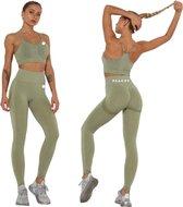 Peachy® Sportlegging en Top - Yoga - Fitness set - Scrunch Butt - Dames Legging - Sportkleding - Fashion legging - Broeken - Gym Sports - Legging Fitness Wear - Groen - maat M - High Waist