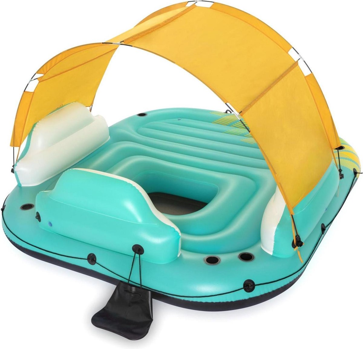 Opblaasbaar Drijvend Eiland met Zonwering - Bestway Hydro Force Sunny Lounge - Zwembad speelgoed - Inflatable Pool Island - Loungegedeelte - Rugleuningen - Voor 5 volwassenen - Luchtbed drijfeiland - Maximaal gewicht 450 kg - Afmeting 291x265x83 cm