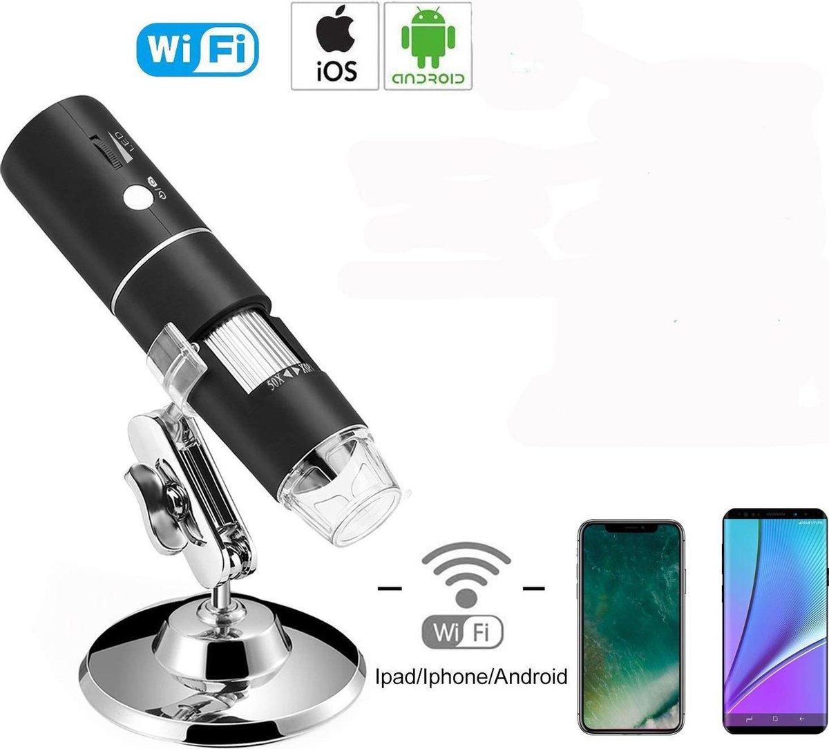 Digitale draadloze wifi Microscoop 50 x 1000 met 8 led lamp voor video opname en foto's IOS en Android
