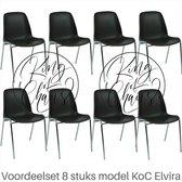 Voordeelset 8 stuks KoC Elvira bruin met verchroomd onderstel. Kantinestoel stapelstoel kuipstoel vergaderstoel tuinstoel kantine stapel stoel kantinestoelen stapelstoelen kuipstoelen arenastoel kerkstoel Helene schoolstoel bezoekersstoel