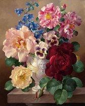 Schilderen Op Nummer Volwassenen - Do It Yourself Paintings - Stilleven- Bloemen - Bloemen in Vaas - Kleurrijk - 40x50 cm - Canvas