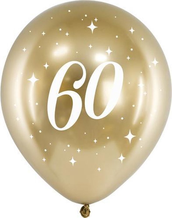 Glossy ballonnen gold 60 jaar (6 stuks)