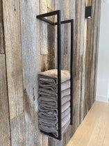 SaniDreams - Handdoekenrek Svart - Industrieel - Handdoekhouder - 95x25x20 cm - mat zwart - staal
