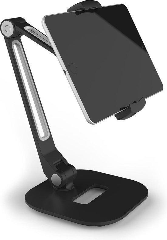 Greenure Tablet / Telefoon houder - Universele houder XL 360 ° draaibaar - Tafelmodel Voor Tablet, Mobiele Telefoon, smartphone & Camera - Stabiele Aluminium Voet Zwart