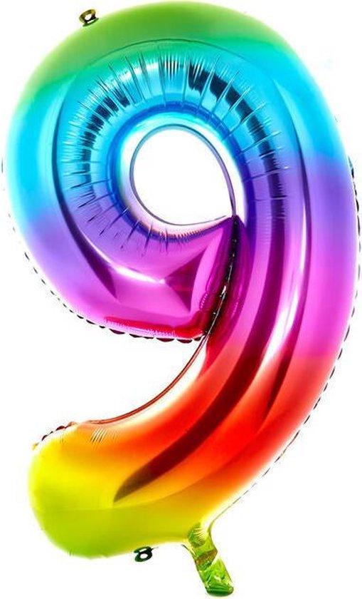 Cijfer Ballon nummer 9 - Helium Ballon - Grote verjaardag ballon - 32 INCH - Regenboog  - Met opblaasrietje!