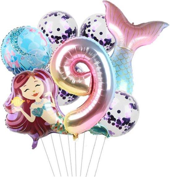 Zeemeermin ballonnen 9 jaar - set van 7 stuks - thema - mermaid