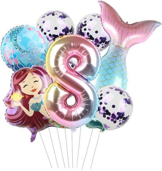 Zeemeermin ballonnen 8 jaar - set van 7 stuks - thema - mermaid