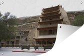Tuinposter Grotten van Mògāo - Zijaanzicht van de prachtige tempel bij de Grotten van Mògāo in China Tuinposter 120x80 cm - Tuindoek/Buitencanvas/Schilderijen voor buiten (tuin decoratie)