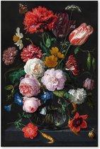 Graphic Message - Schilderij op Canvas - Stilleven met Bloemen in Glazen Vaas - Jan Davidsz de Heem