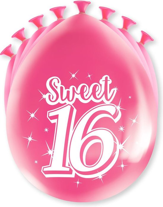 Ballonnen Sweet 16 8 stuks 30 cm