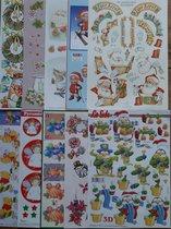 10x 3DA4 Knipvellen -Kerst-  Voor elk wat wils - Maak prachtige kaarten en scrapbook - Inhoud verschillend per pakket