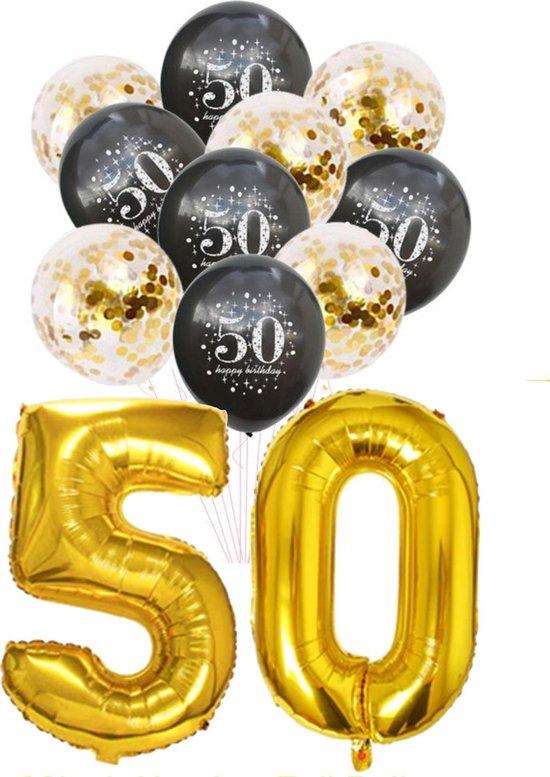 Ballon set 50 jaar - met 5 gouden en 5 zwarte latex ballonnen - Goud - Zwart - verjaardag ballonnen - 1 meter