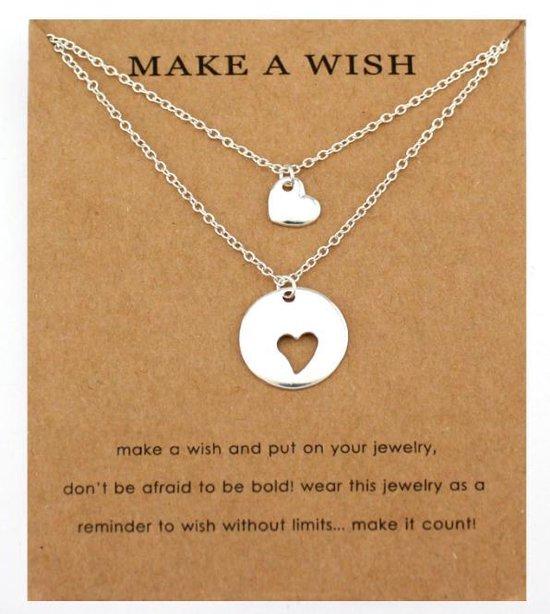 Ketting - Zilveren hart ketting - Moederdag - Moederdagcadeau - Moeder en dochter - Vriendschapsketting - Make a Wish - Verjaardag