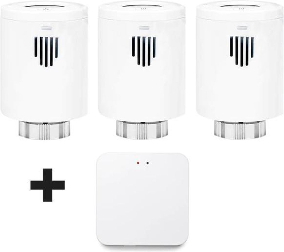 Evanell° Slimme Thermostaat Starterskit Incl. 2 extra Radiatorknoppen - Thermostaatknop Werkt met Google Home en Alexa
