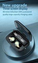 TWS Bleutooth Oordopjes - Waterdichte Draadloze Oordopjes met Powerbank en Microfoon. - Zwart