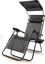 Casaxl Ligstoel met Zonneklep - Inclusief klap tafel - Opvouwbare Ligstoelen - Tuinstoelen - 2 Stuks - 30°-90° Verstelbaar - Zijtafel en Hoofdkussen