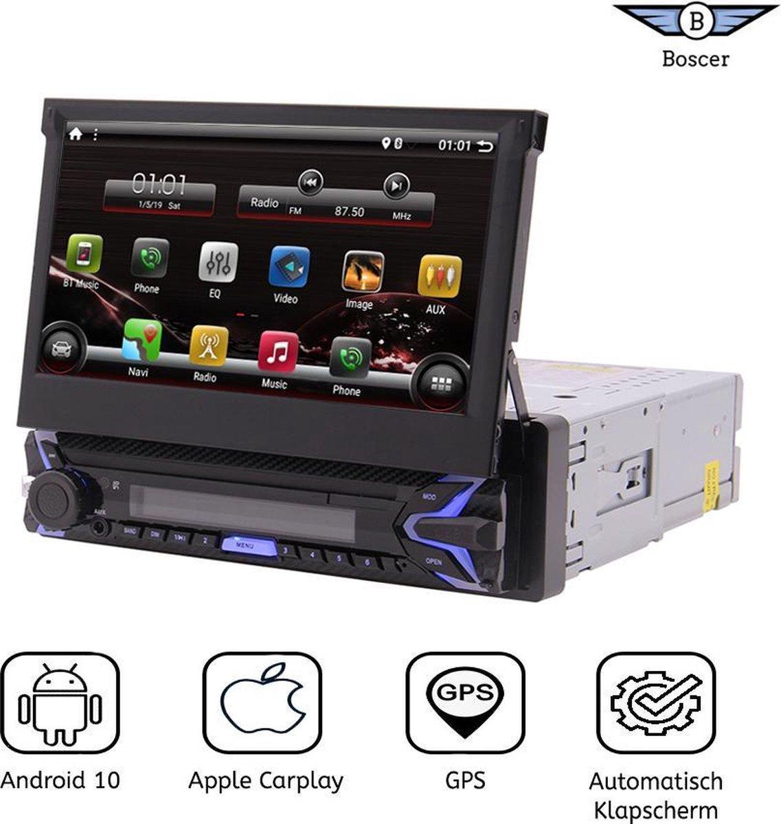 Boscer® 1Din Autoradio   Android 10   7' HD Automatisch Klapscherm   Apple Carplay & Android Auto   Navigatiesysteem   Motor Klapscherm   USB, Aux, Bluetooth, WIFI   Achteruitrijcamera