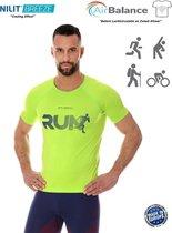 Brubeck Athletic - Air Pro Hardloopshirt / Sportshirt - Nilit® Breeze Cooling Effect - Neon Groen - L