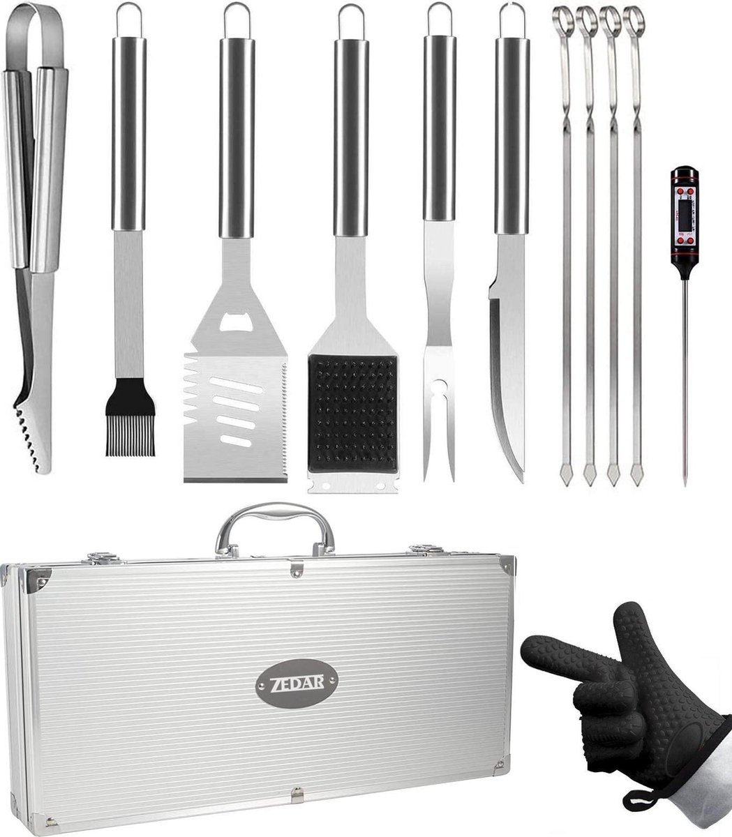 BBQ accesoires set met thermometer, handschoenen, tang, borstel van Zedar (vaderdag kados)