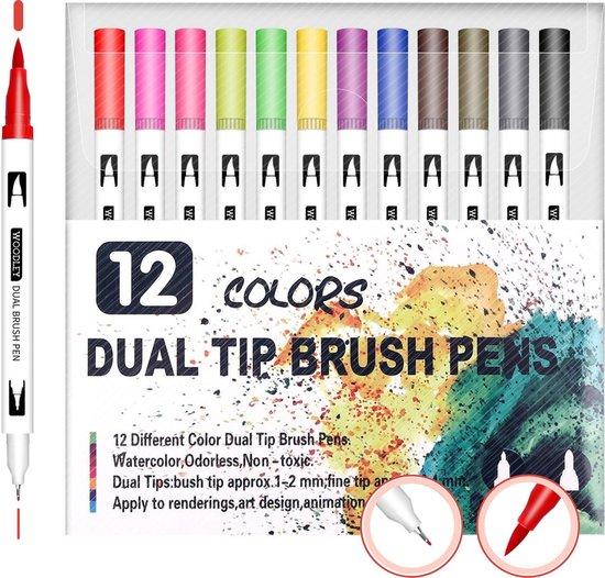 Dubbelzijdige Stiften Set - 12 Kleuren - Kleuren voor volwassenen en kinderen - Kleurstiften - Viltstiften - Stiften voor volwassenen
