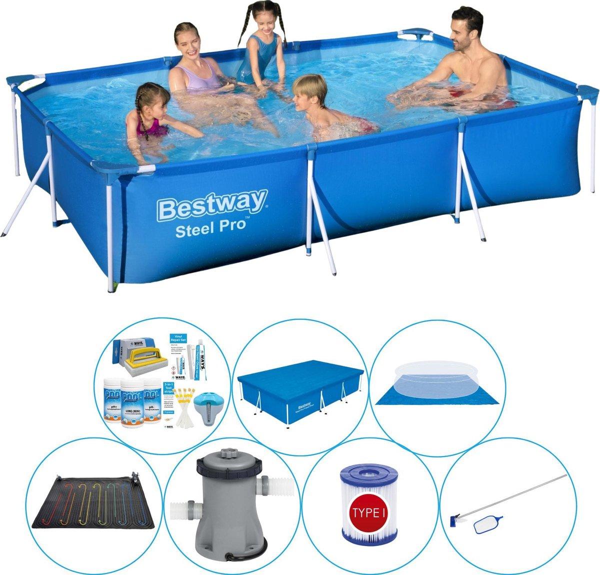 Bestway rechthoekig zwembad pakket - 300 x 201 x 66 cm - grondzeil - filterpomp - onderhoudsset