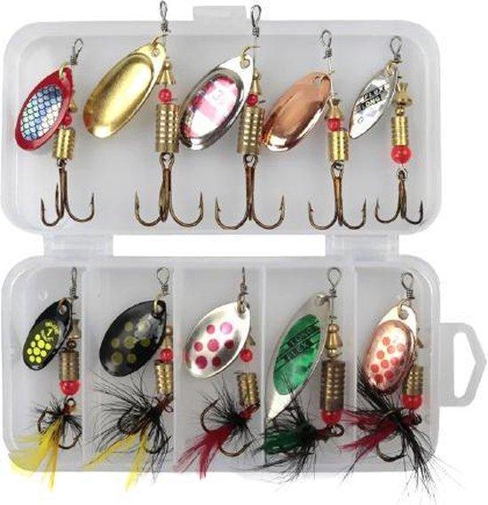 Kunstaas Spinners set roofvissen 10 stuks - blinkers voor snoek, baars en forel - 2 gratis stalen onderlijnen