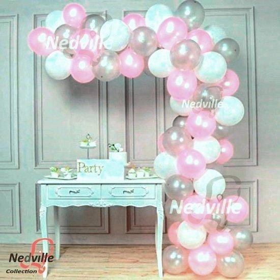 50 stuk XL Babyshower roze ballonnen pakket - baby born - met snel-sluiters en lintjes t.w.v. 8,95 - roze ballonnen -  ook voor ballonnen boog - geboorte meisje - extra groot 38 cm lang - peervorm - lucht en helium ballonnen
