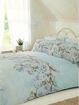 2-persoons dekbedovertrek lichtblauw / zacht blauw met bloesemtak met lila bloemen en vogeltjes (vogel) 200 x 200 cm