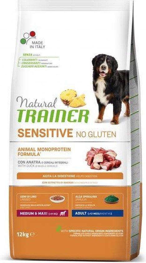 12 kg Natural trainer sensitive adult medium duck glutenvrij hondenvoer