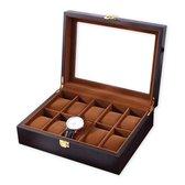 Horloge box voor uw juwelen en sieraden - 10 compartimenten met kussentjes - Bruin