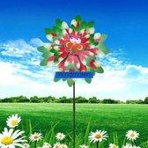 BrenLux - Windmolen – Libellen met bloem groen - Windmolen tuin – Windmolen 57 cm hoog x 39 cm – Dubbele windmolen - Tuindecoratie - Windmolen op staander - Tuininrichting – Vrolijke windmolen – Tuindecoratie