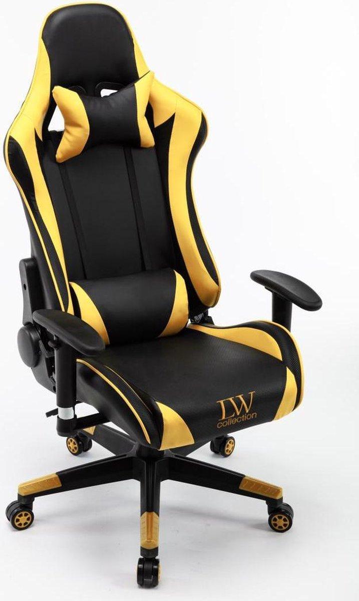 Gamestoel Zwart Geel verstelbaar LW Collection - Verstelbare Bureaustoel - Gamingstoel - bureaustoel