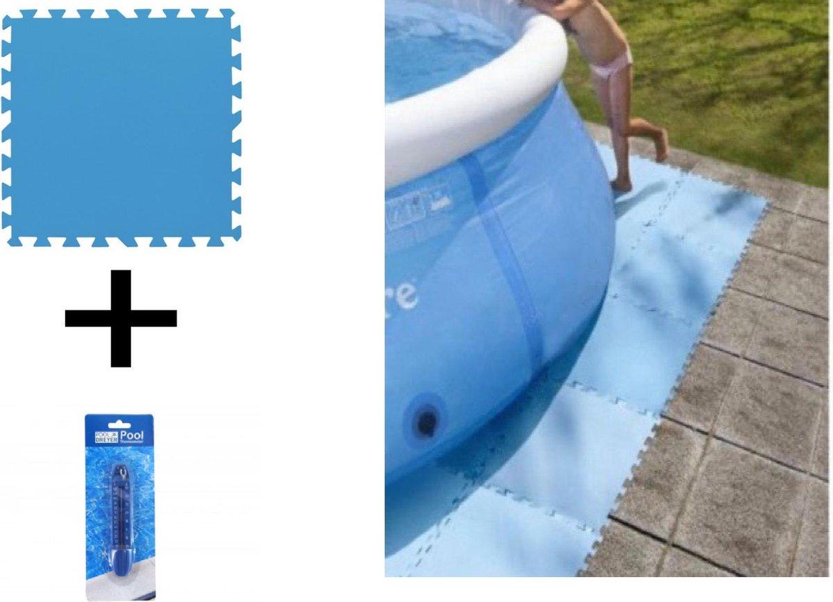 Zwembad tegels + Zwembadthermometer | Set van 8 stuks tegels - Bodem bescherming - Ondertegels - Ondervloer - Ondergrond - Foam tegels - Matten - Puzzelmat voor zwembad - Thermometer - zwembadtegels - 50x50x0.4cm / 2m2 |