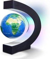 MikaMax Magnetisch Zwevende Wereldbol - Globe - Kantoor Decoratie - Wereldbol Met Verlichting - Wereldkaart - 360 graden - C-shape