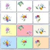 Leuke vrolijke Wenskaarten (12) - Bloemenkaarten - Zonder tekst - Cards - Veldbloemen - Ansichtkaarten bloemen - Kaartje met een staartje - Set 12 stuks - Geschikt als condoleancekaarten - Sterkte kaarten - Postkaart - Postkaarten  Felicitatiekaarten