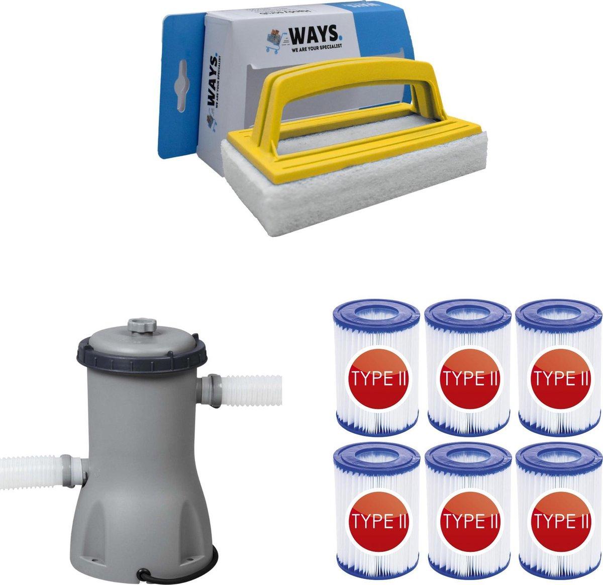WAYS - Zwembad Onderhoud - Bestway Filterpomp 2006 L/h & 6 Bestway Filters Type II