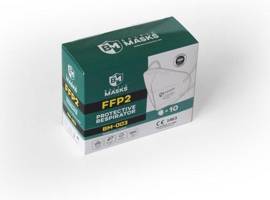 Baltic Masks   FFP2 mondkapje   10 stuks   Wit   Verpakt per 2   Gelijk aan KN95