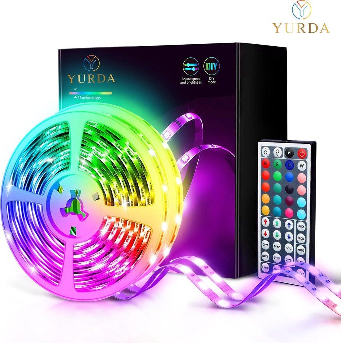 Yurda 10 meter Led Strip met Afstandsbediening - RGB - Led strip - Led light strip - 5050 RGB Led op De Prijzenvolger