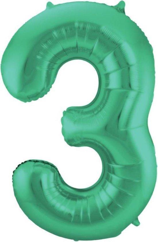 cijferballon 3 groen 40 inch, kindercrea