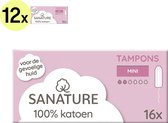 Sanature 100% Katoenen Tampons Mini 12 x 16 stuks