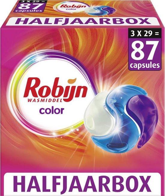 Robijn Color 3 in 1 Wascapsules speciaal voor de gekleurde was - 3 x 29 wasbeurten halfjaarbox